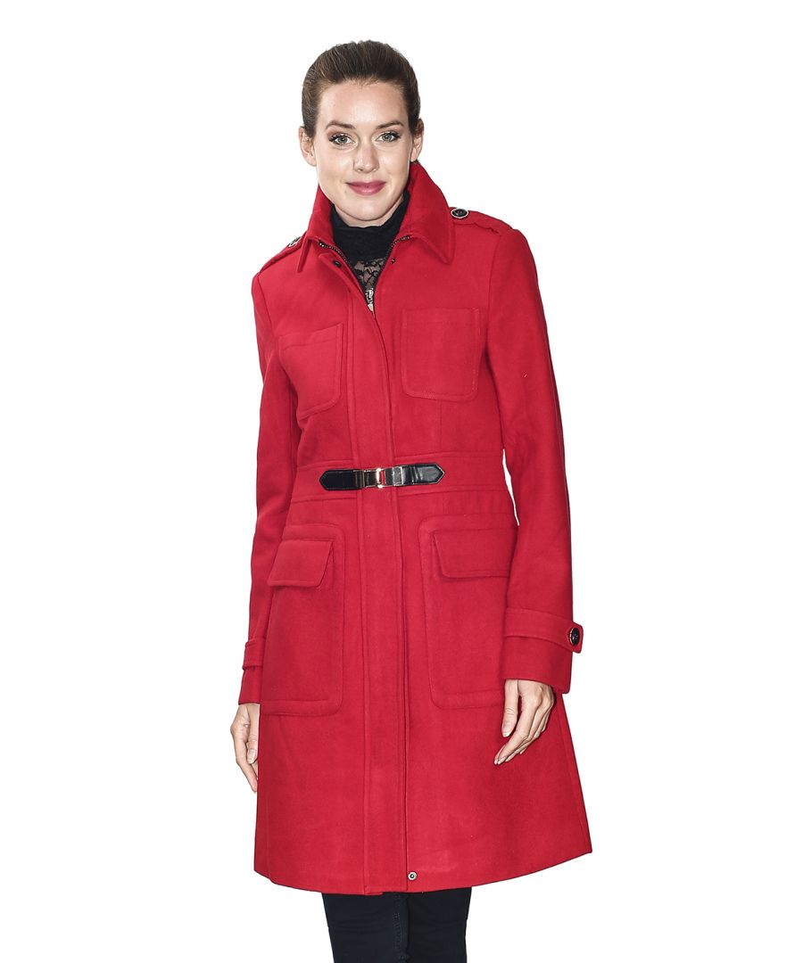 Image for Assuili Long Coat with Shoulder Pads in Red