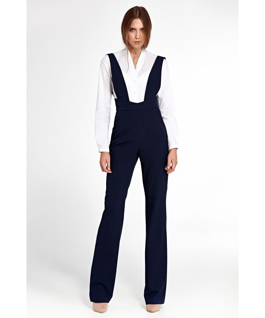 Image for Jumpsuit with suspenders - navy blue