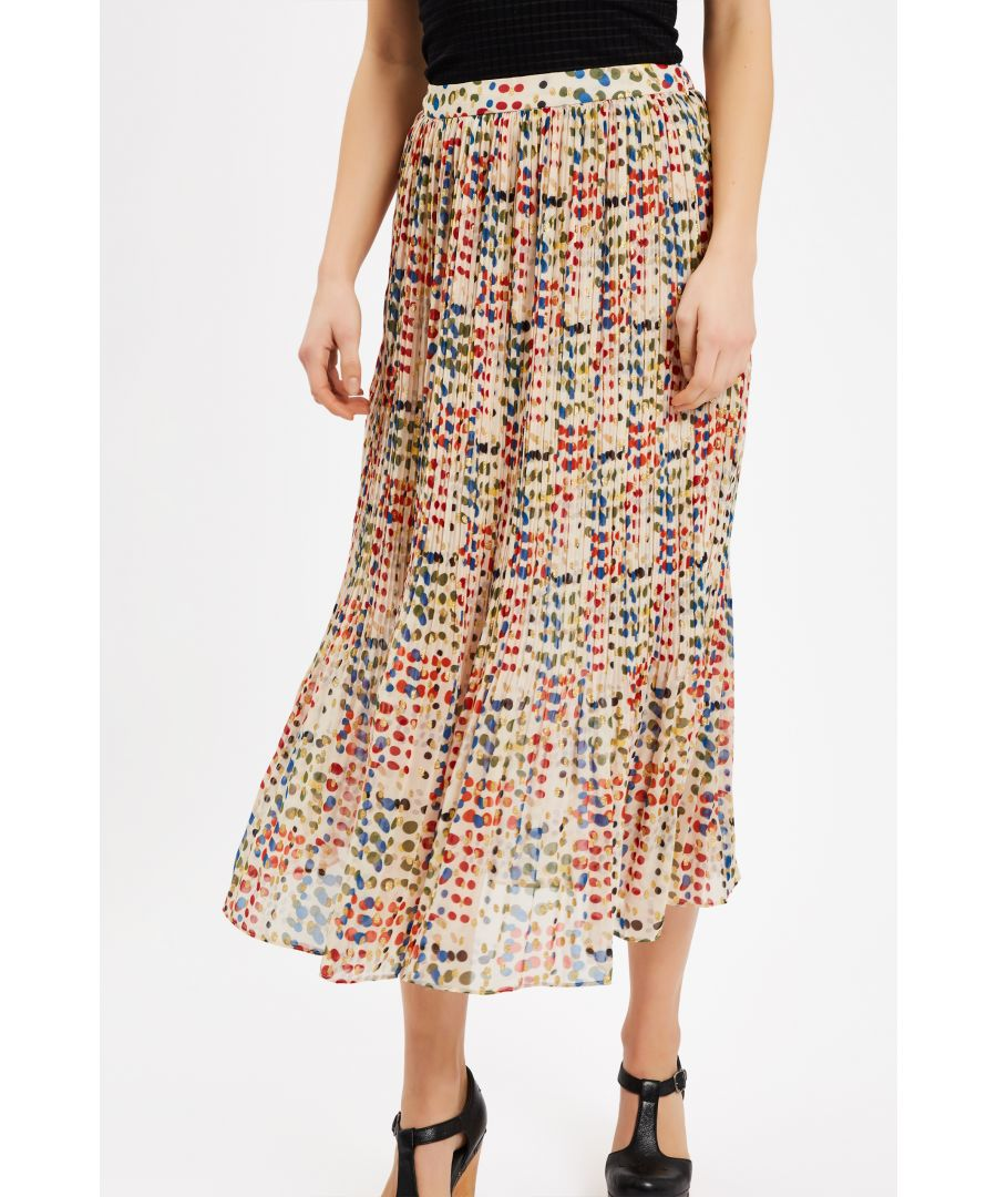 Image for Kaleidoscope Memories Midi Pleated Skirt in Cream
