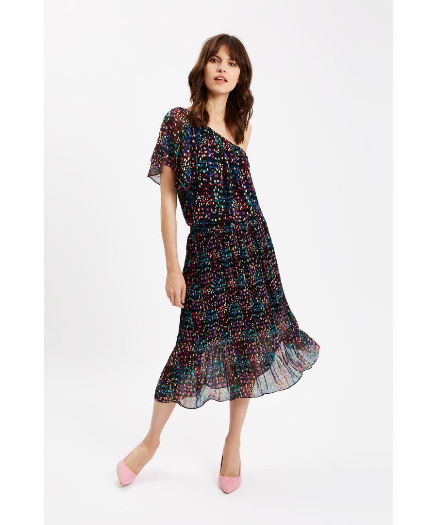 Image for Amorous Polka Dot One Shoulder Dress in Black