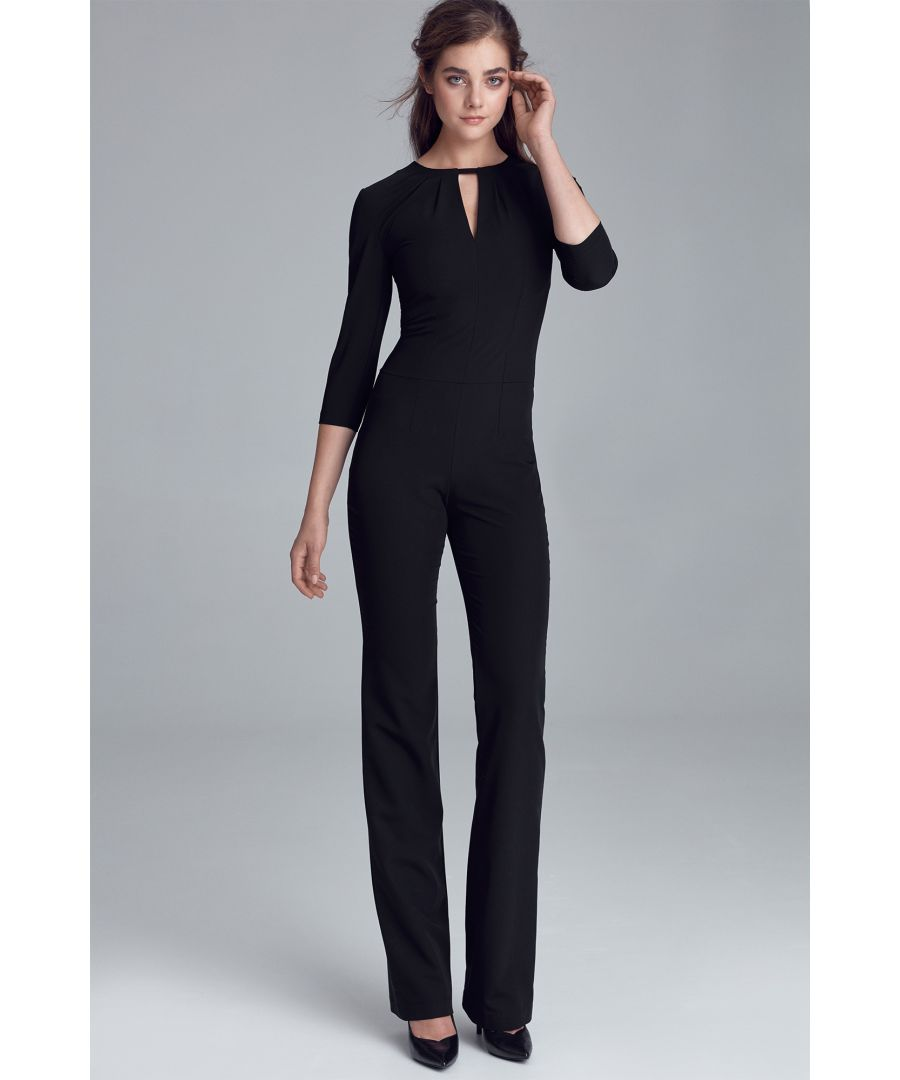 Image for Jumpsuit with crack on the neckline - black