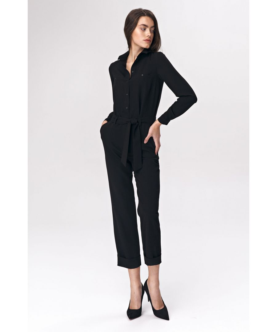 Image for Black jumpsuit with tie