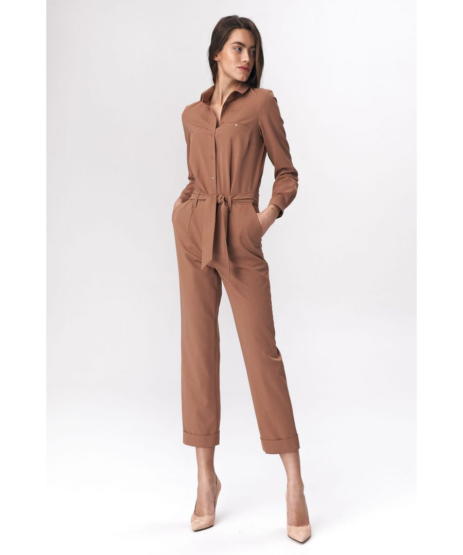 Image for Caramel jumpsuit with tie