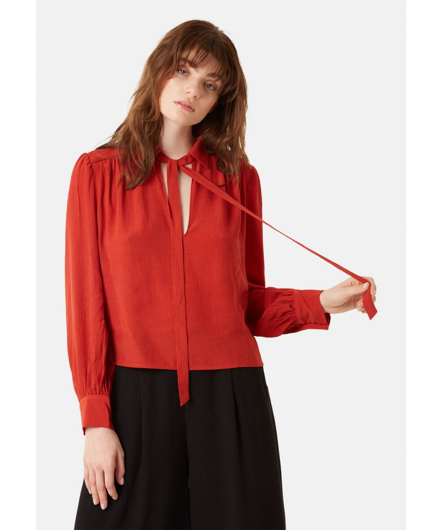 Image for Maisie Chiffon Long Sleeved Pussy Bow Blouse in Red