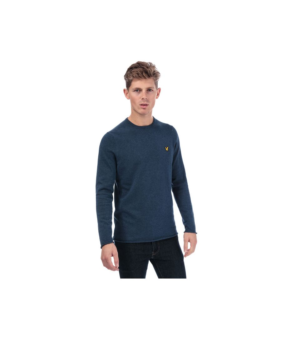 Image for Men's Lyle And Scott Rolled Hem Jumper in Navy Marl