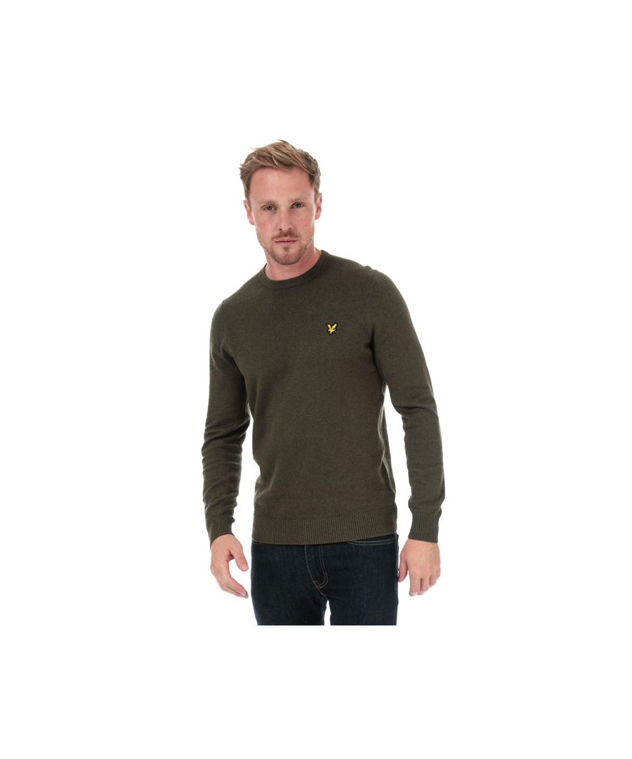 Image for Men's Lyle And Scott Cotton Merino Crew Neck Jumper in Green