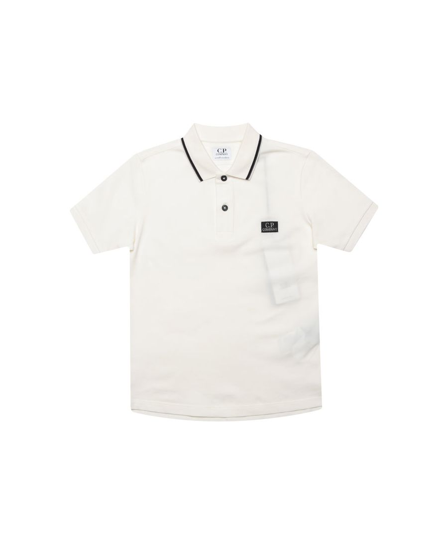 Image for Boys' C.P. Company Junior Tipped Polo Shirt in White