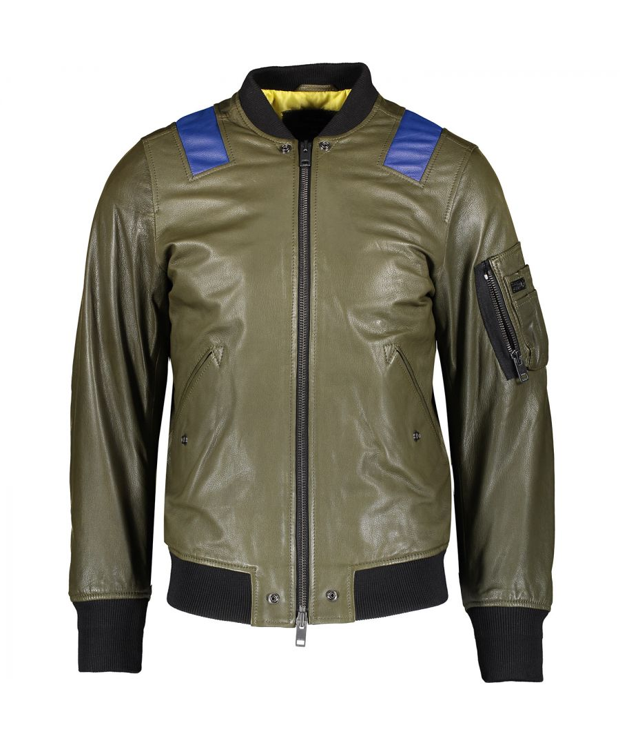 Image for Diesel L-Kittie Green Leather Jacket