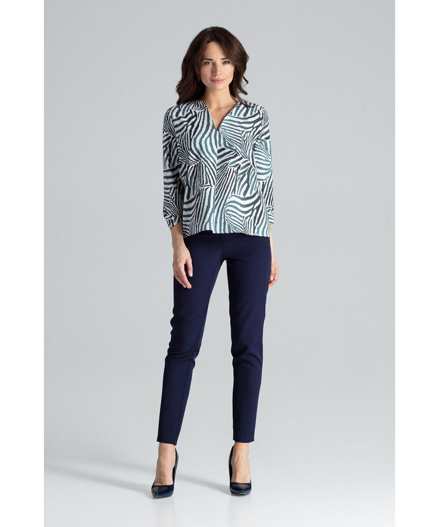 Image for Simple Blouse With V-neckline.