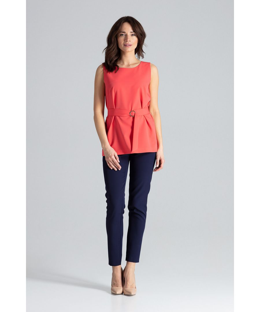 Image for Trapezoidal Elegant Blouse With a Belt