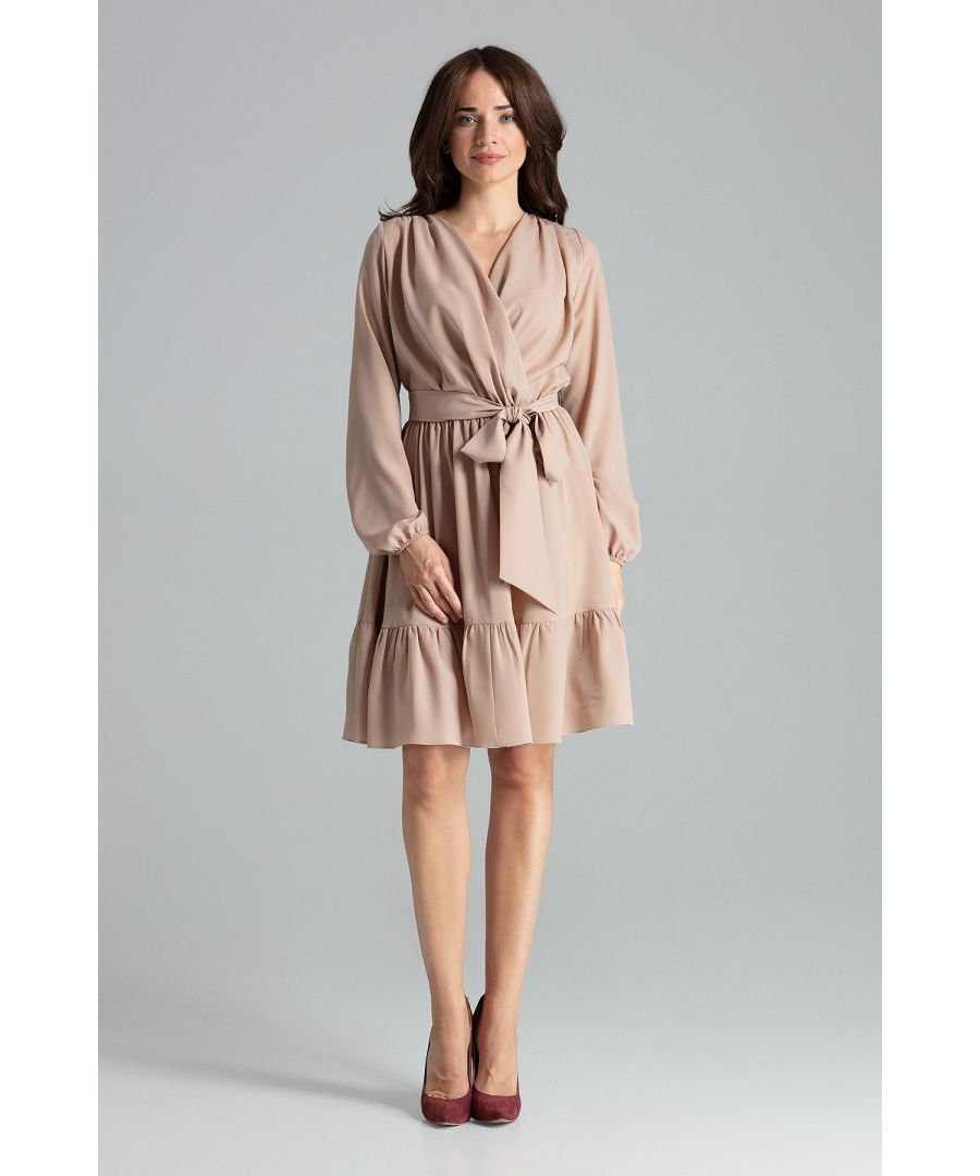 Image for Beige Midi Dress With Long Sleeves