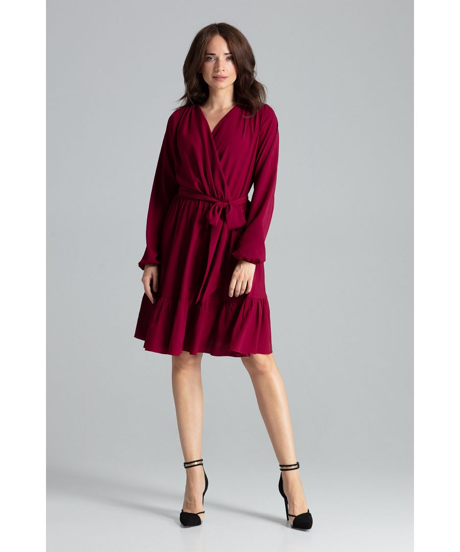Image for Deep Red Midi Dress With Long Sleeves