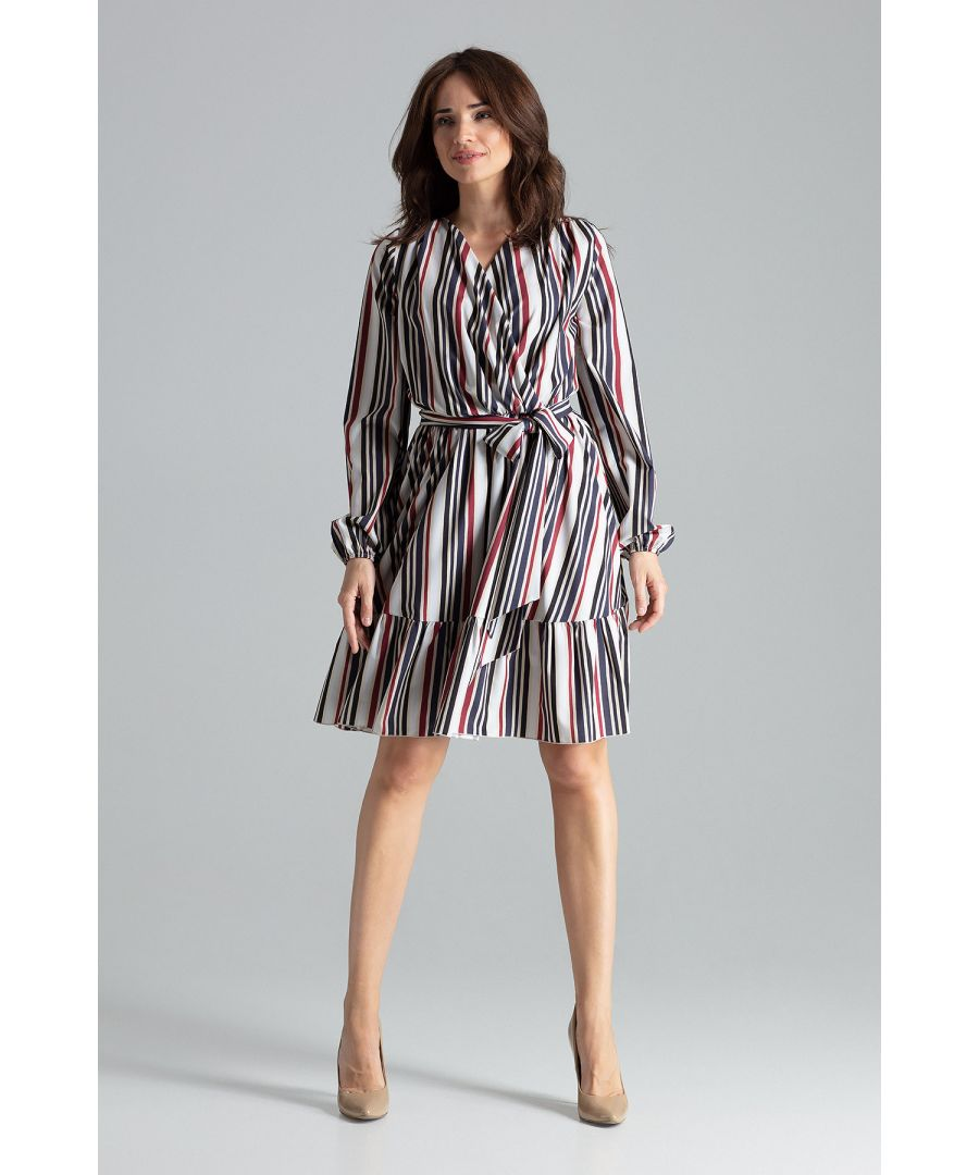 Image for Midi Strip Print Dress With Long Sleeves