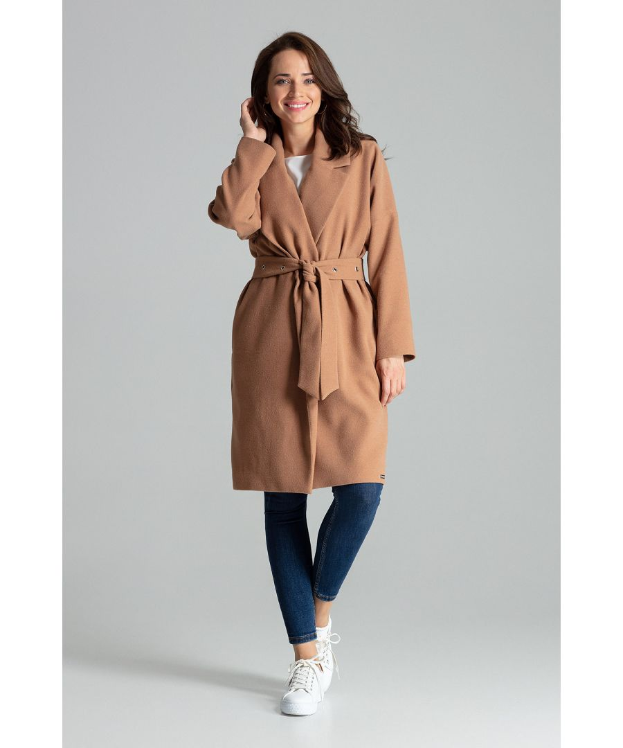 Image for Beige Classic Straight Coat Tied At The Waist