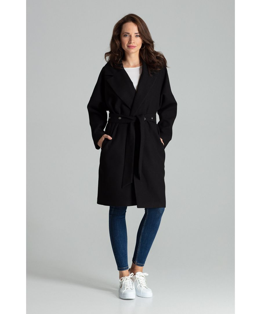 Image for Black Classic Straight Coat Tied At The Waist