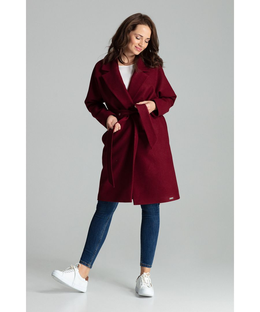 Image for Deep Red Classic Straight Coat Tied At The Waist