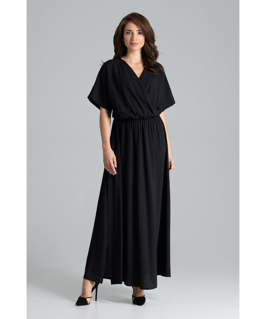 Image for Black maxi dress with short sleeves