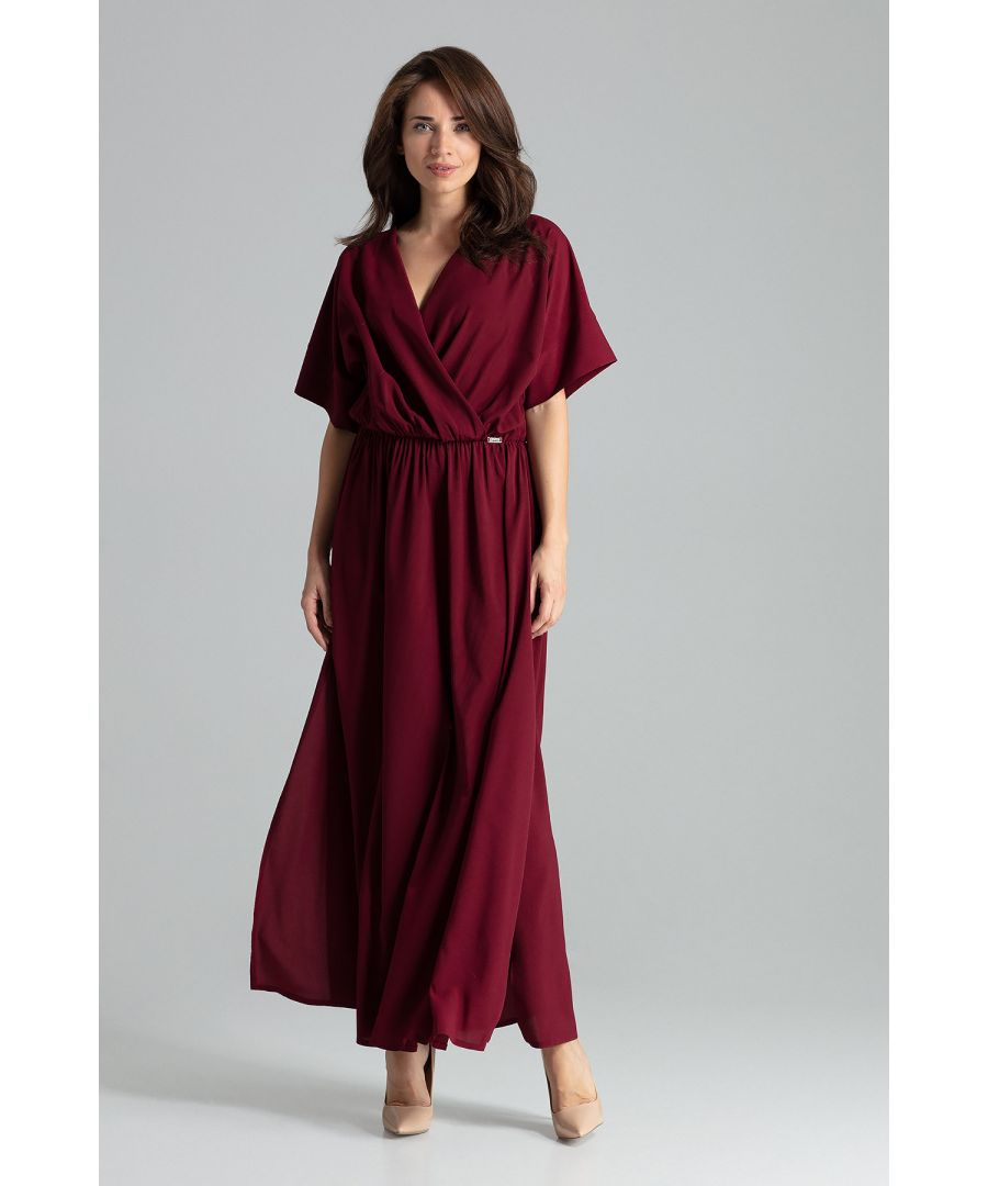 Image for Deep Red maxi dress with short sleeves