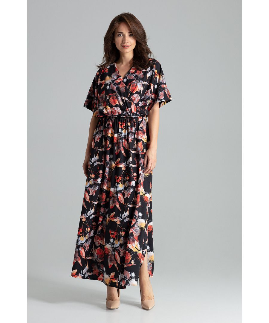 Image for Maxi floral print dress with short sleeves