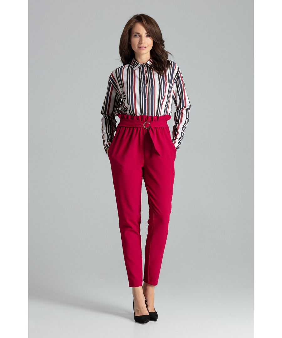 Image for Deep Red Long Trousers Tapered Down