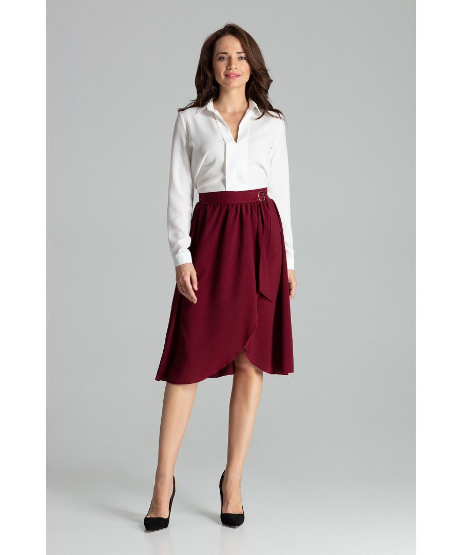 Image for Deep Red Midi skirt pleated at the waist