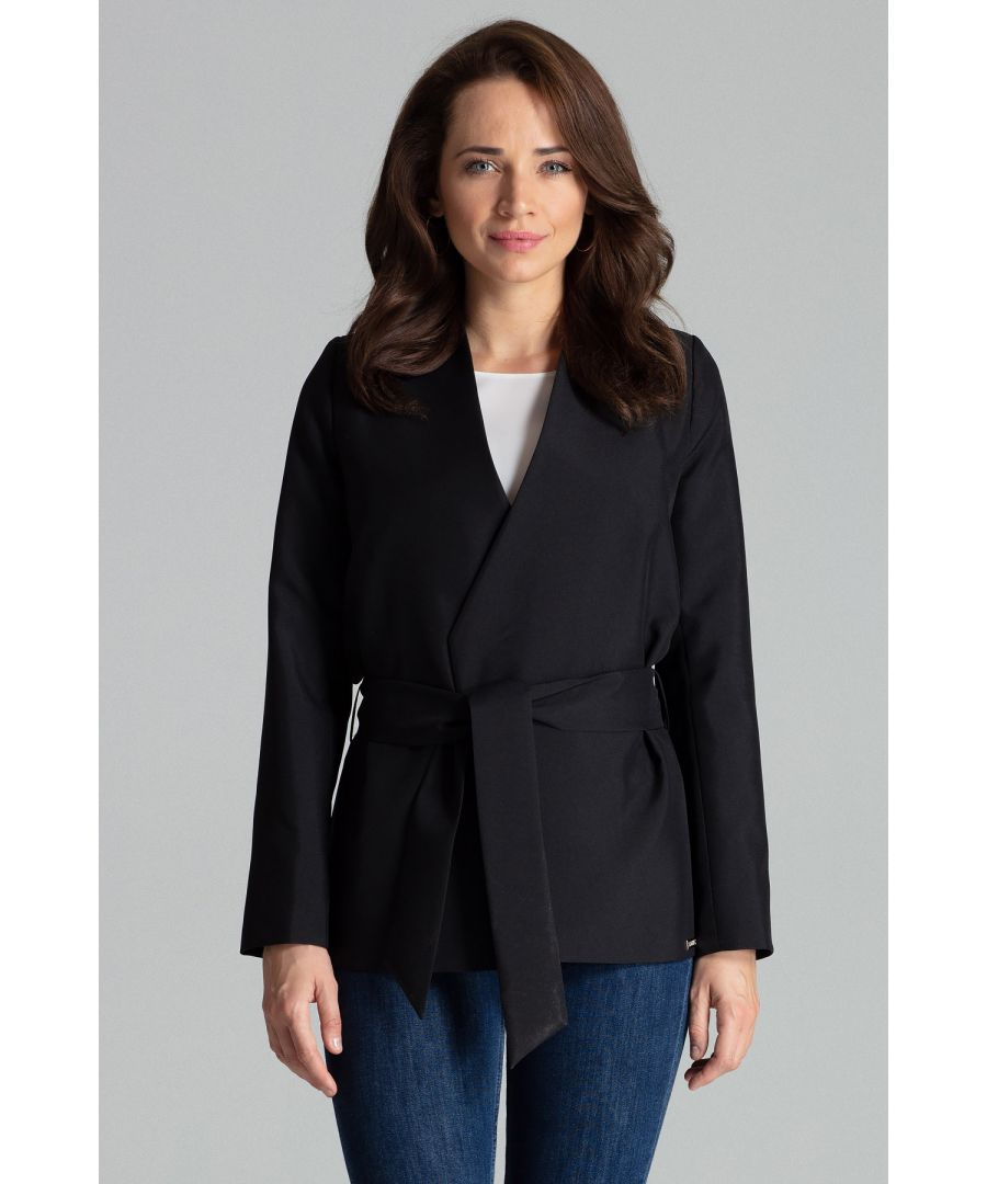Image for Black Simple Blazer Without Fastening