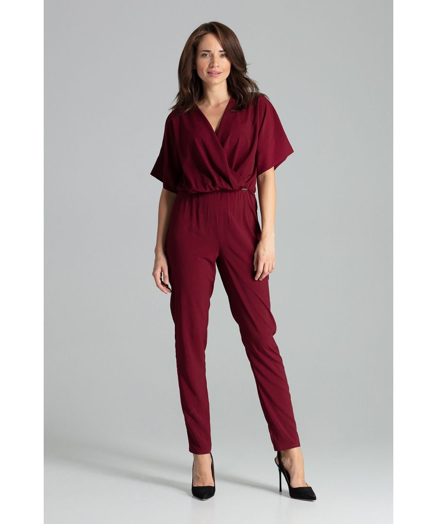 Image for Deep Red Jumpsuit With Long Straight Legs