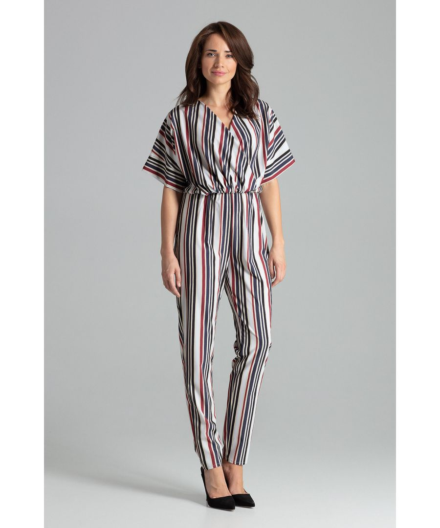 Image for Strip Print Jumpsuit With Long Straight Legs
