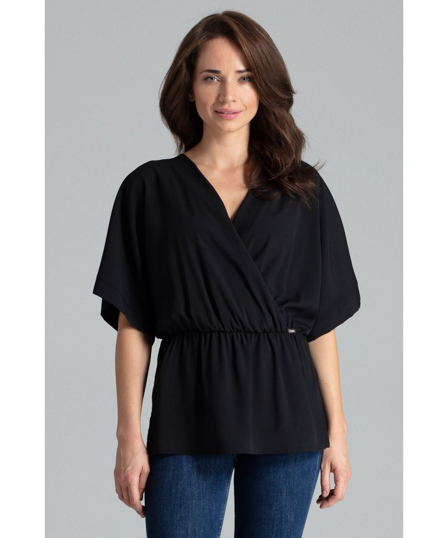 Image for Black Simple Blouse With a Short Kimono Sleeve