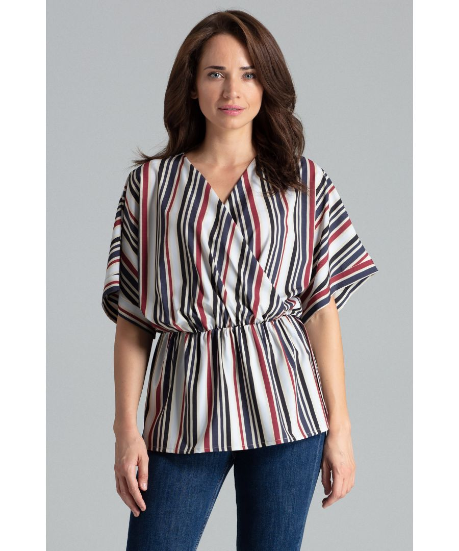 Image for Strip Print Simple Blouse With a Short Kimono Sleeve