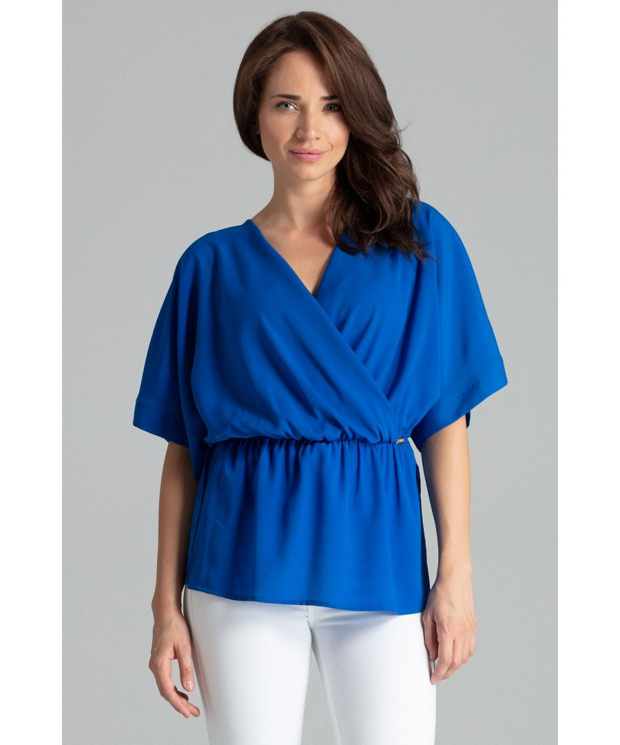 Image for Sapphire Simple Blouse With a Short Kimono Sleeve
