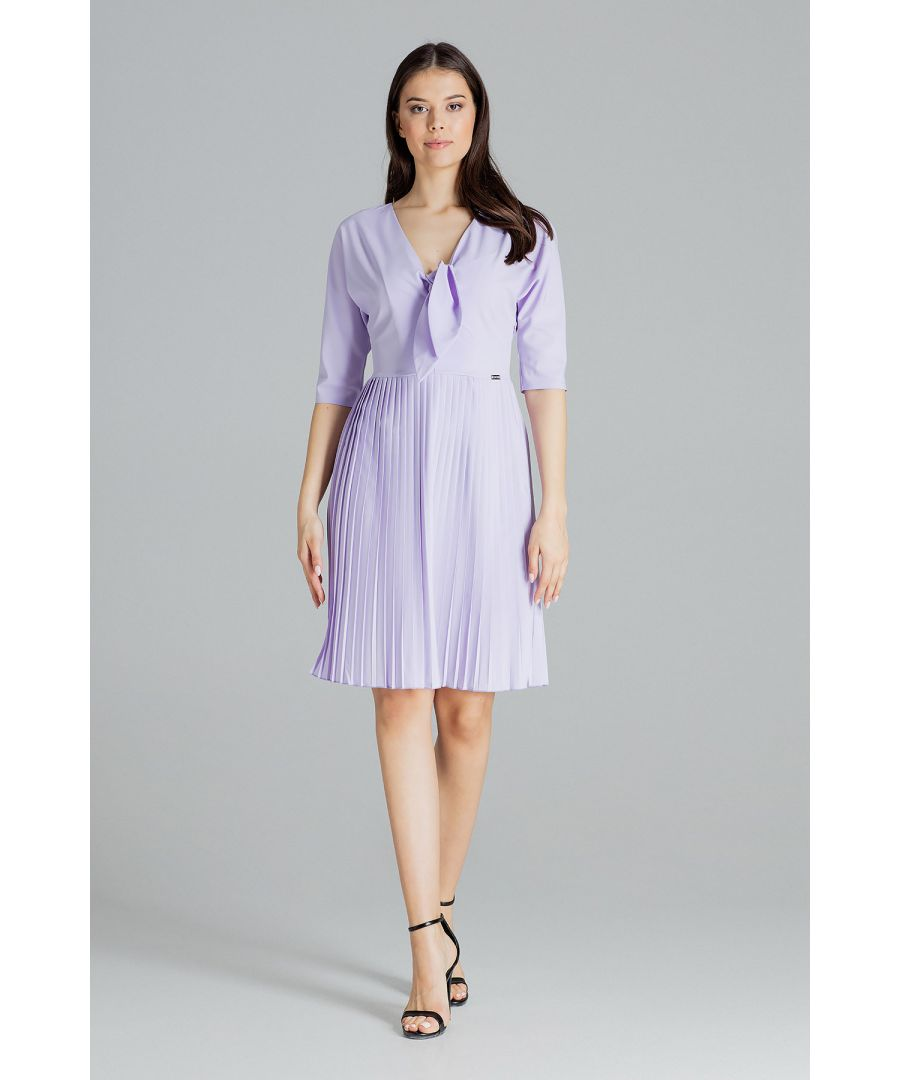 Image for Violet Spring Dress With a Pleated Bottom