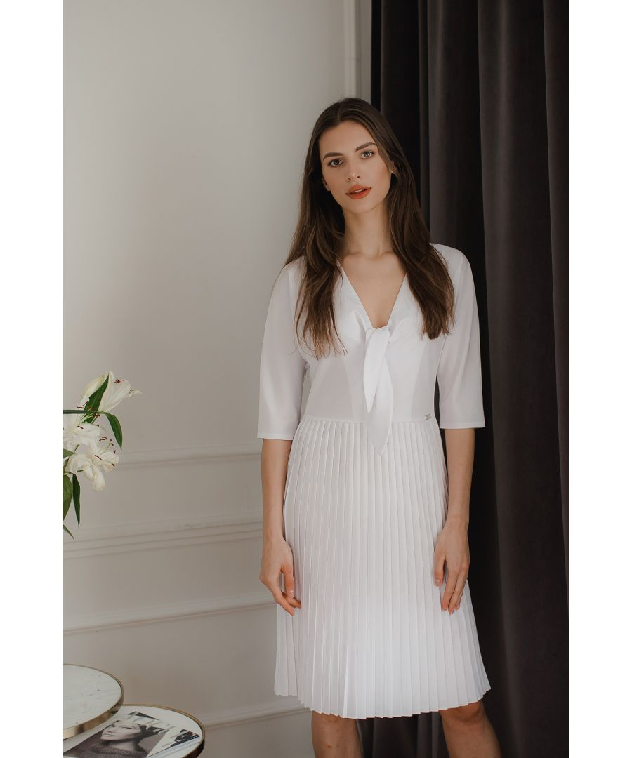 Image for White Spring Dress With a Pleated Bottom
