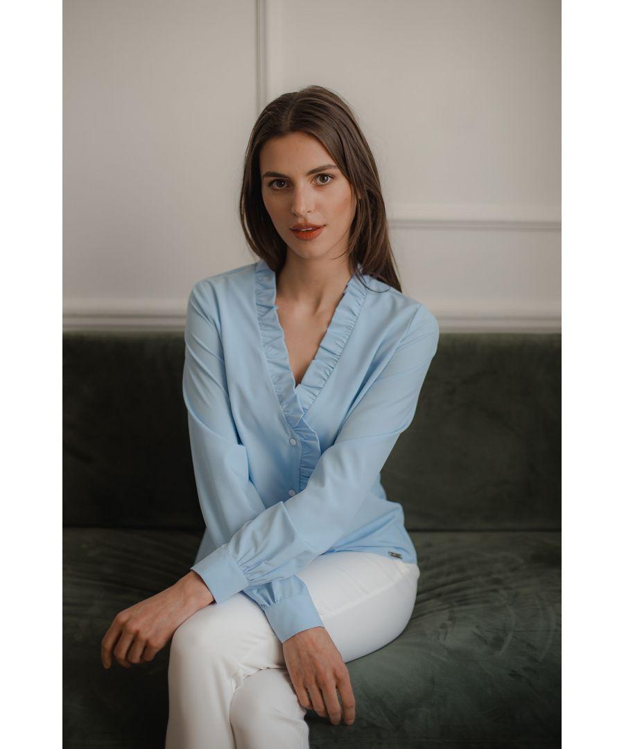 Image for Blue V-neck Blouse