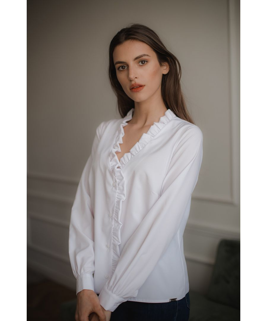Image for White V-neck Blouse