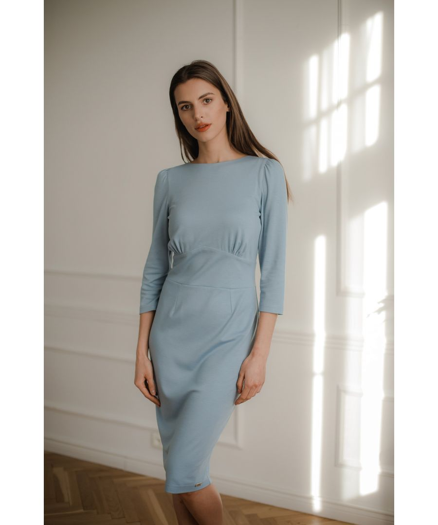 Image for Blue Fitted Midi Dress