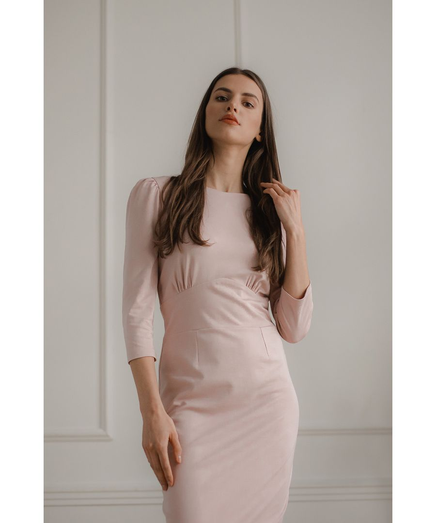 Image for Pink Fitted Midi Dress