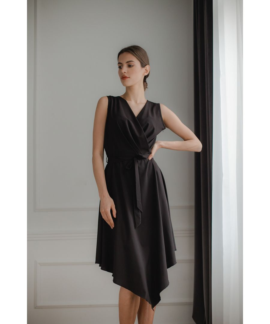 Image for Black Sleeveless Midi Dress with An Asymmetrical Flared Bottom
