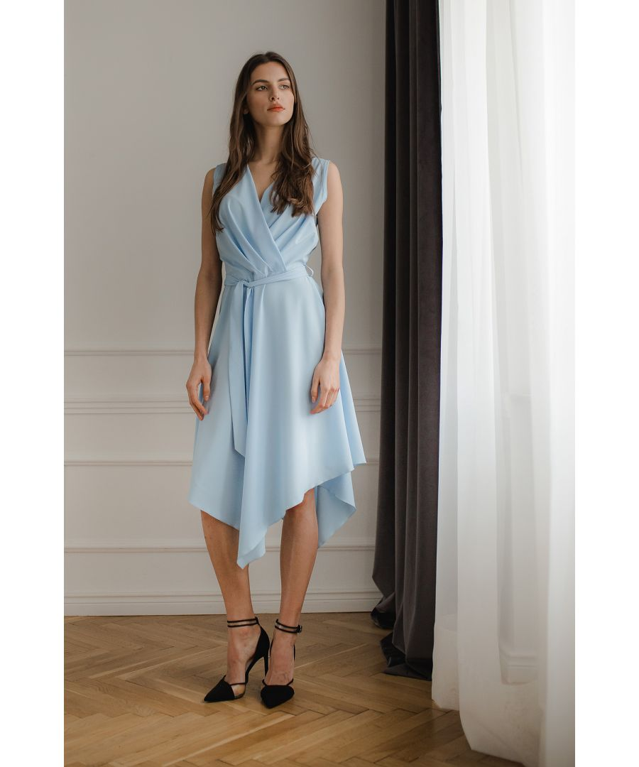 Image for Blue Sleeveless Midi Dress with An Asymmetrical Flared Bottom
