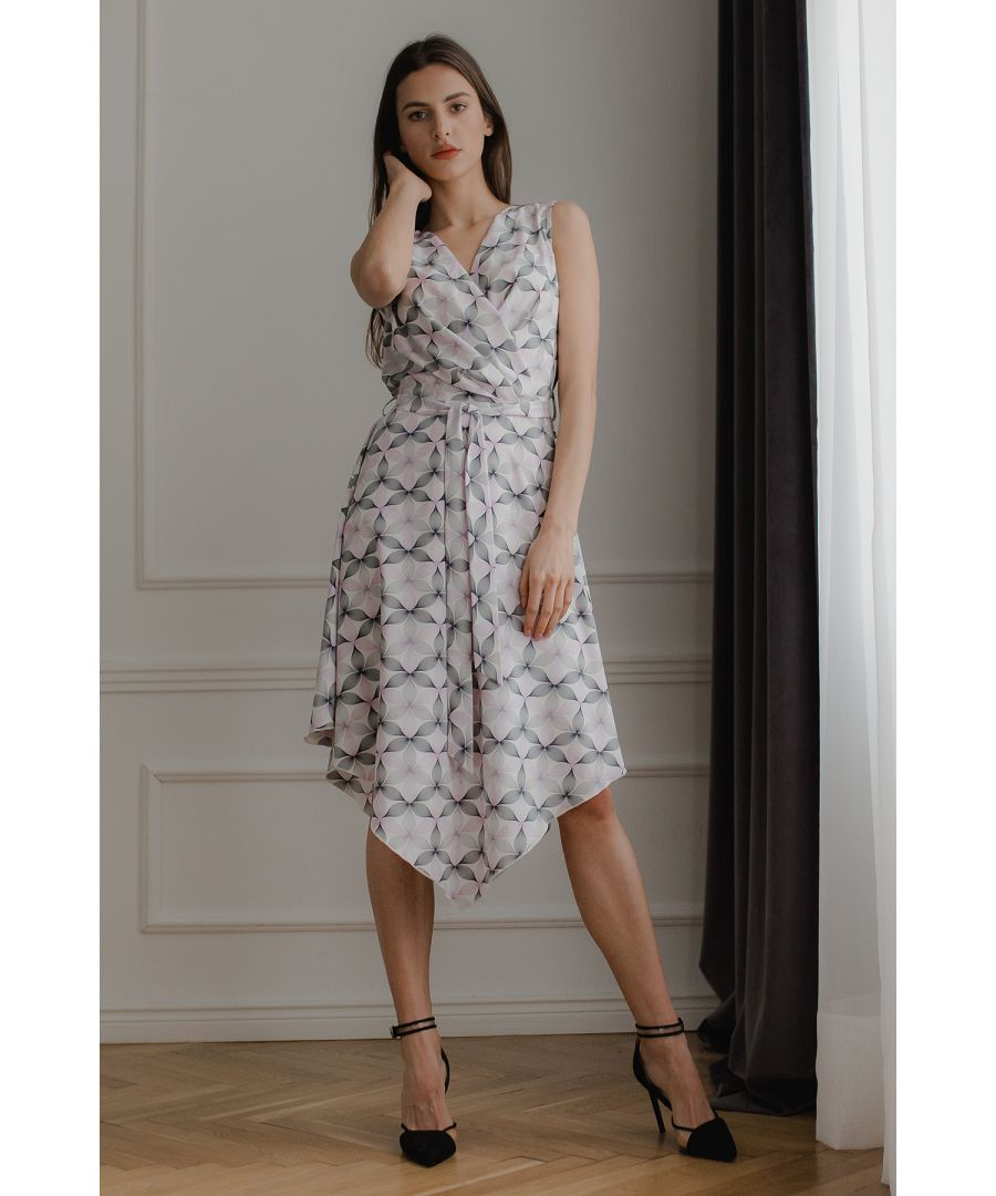 Image for Pink Flower Print Sleeveless Midi Dress with An Asymmetrical Flared Bottom