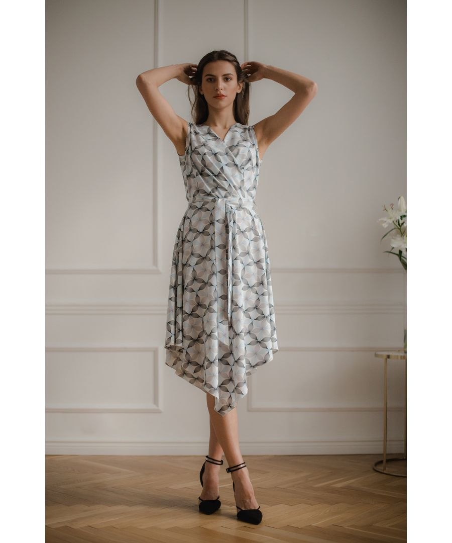 Image for Blue Flower Print Sleeveless Midi Dress with An Asymmetrical Flared Bottom