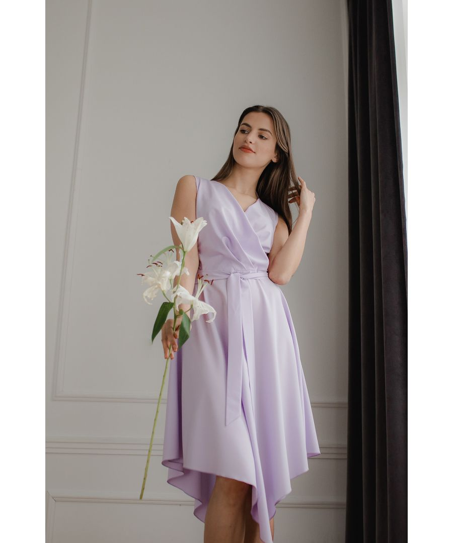 Image for Violet Sleeveless Midi Dress with An Asymmetrical Flared Bottom