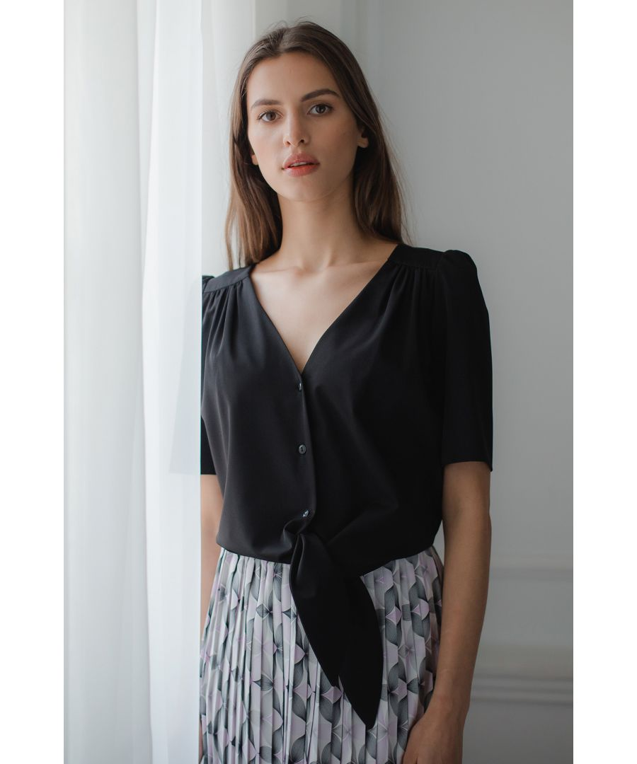 Image for Black Short, Simple Blouse With a Decorative Tie