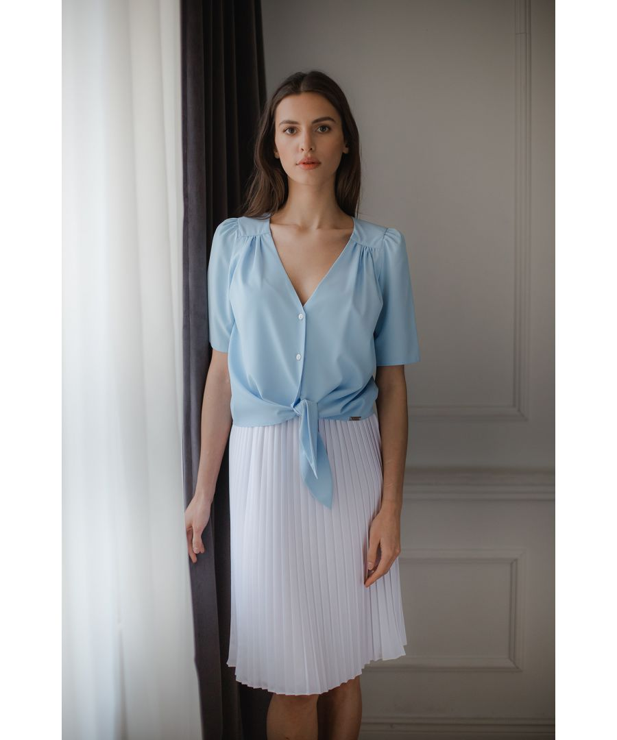 Image for Blue Short, Simple Blouse With a Decorative Tie
