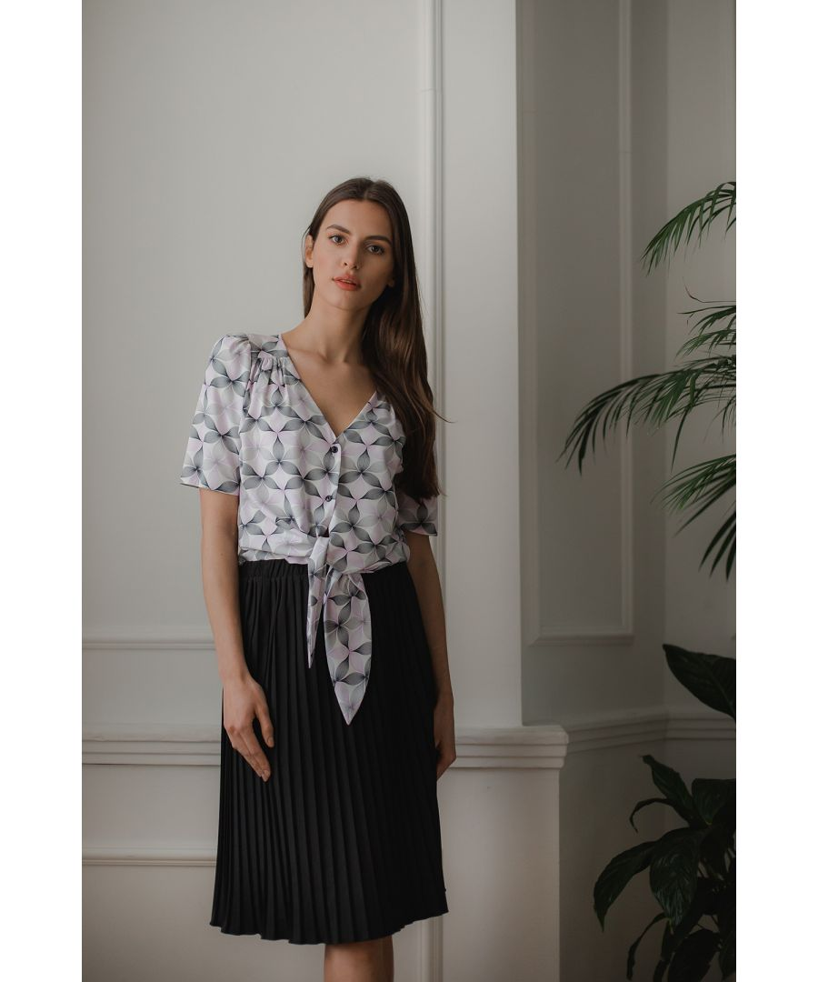 Image for Pink Flower Print Short, Simple Blouse With a Decorative Tie