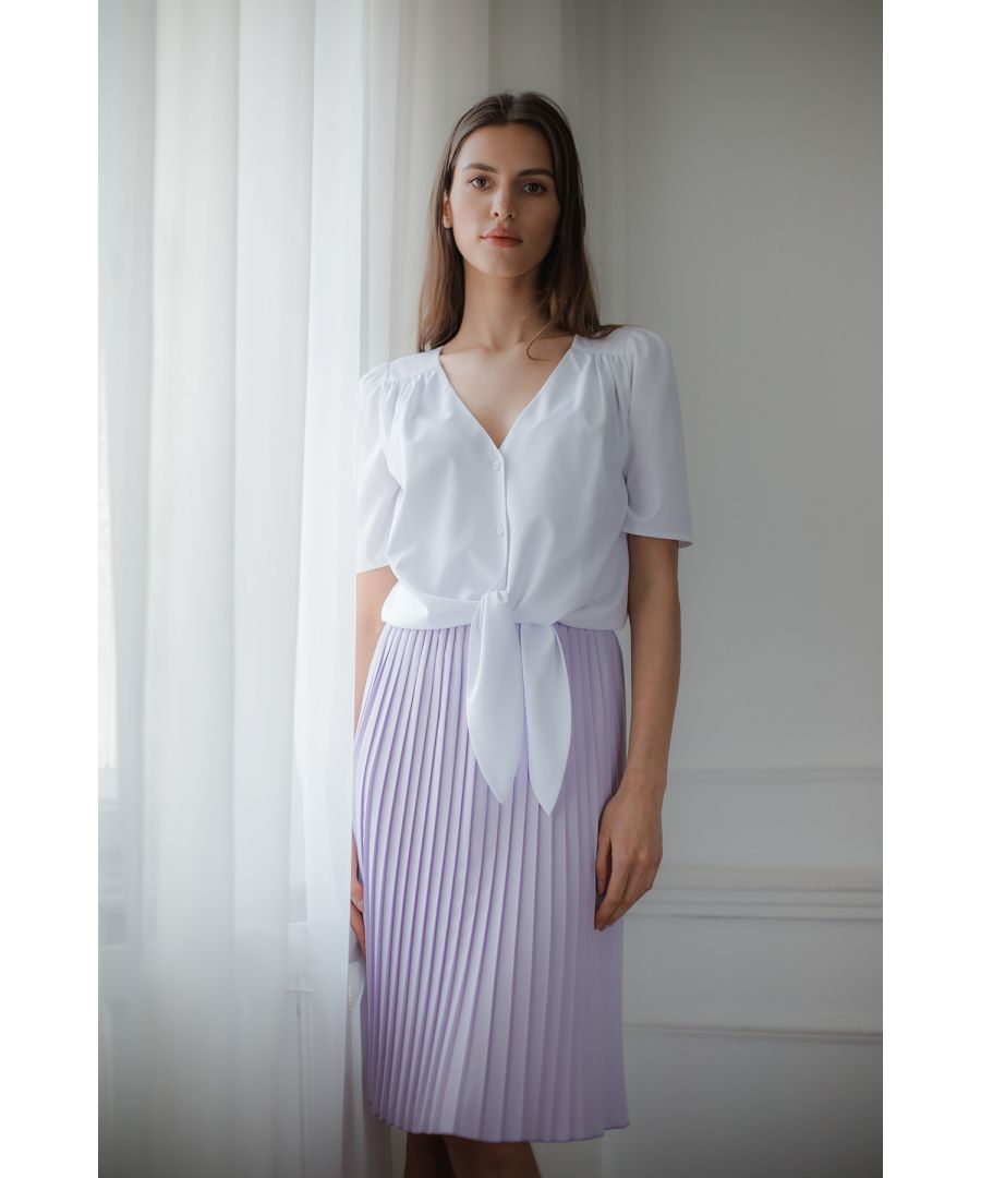 Image for White Short, Simple Blouse With a Decorative Tie