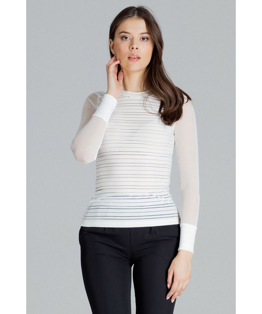 Image for Fitted Blouse With Long Sleeves Made of Mesh