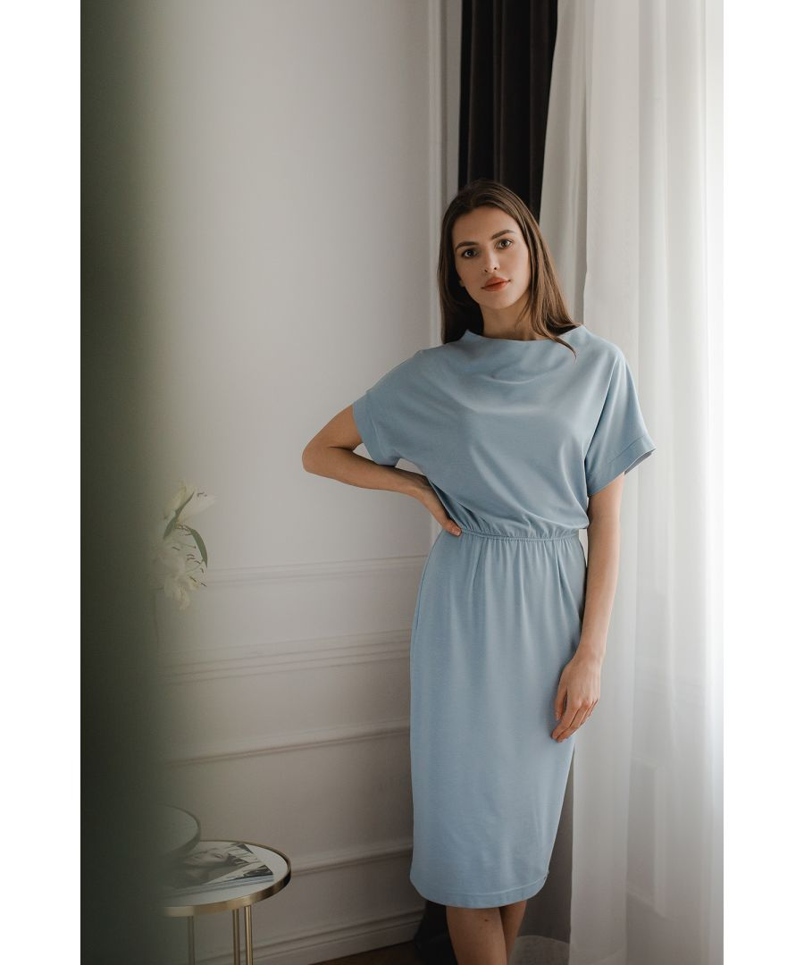 Image for Blue Short Sleeve Midi Dress