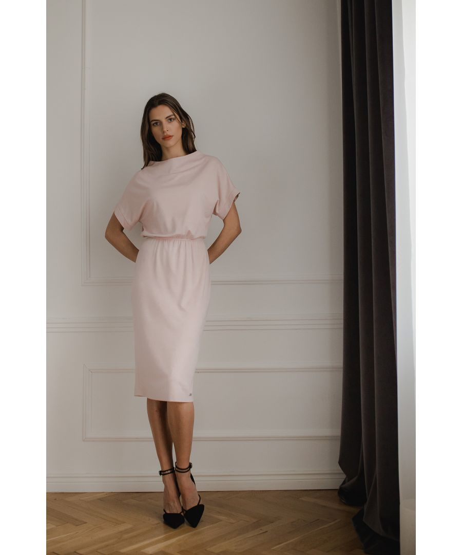 Image for Pink Short Sleeve Midi Dress