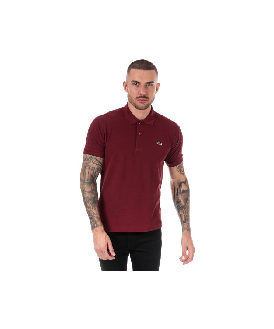 Image for Men's Lacoste Classic Fit L1212 Polo Shirt in red maroon